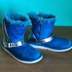 Kids Ugg boots size us 3 blue sparkle w silver